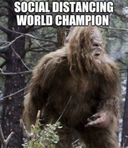 "The always elusive Bigfoot is captured in this photo, with the text: ""Social Distancing World Champ"". Social distancing memes first appeared in early 2020 in response to coronavirus protection measures."