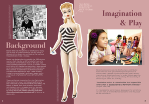 In this two-page magazine layout a vintage Barbie sits in the middle of the page with background material to the left and a discussion of imagination and play to the right.